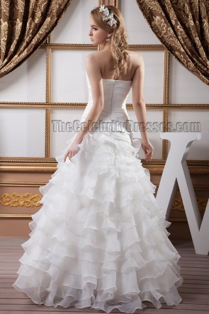 Floor Length Strapless A-Line Ruffles Wedding Dresses
