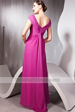 Floor Length V-Neck Beaded Formal Dress Prom Evening Gown