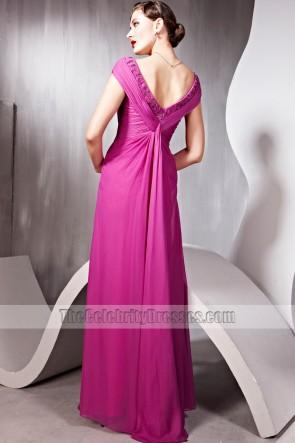 Floor Length V-Neck Beaded Formal Dress Prom Evening Gown