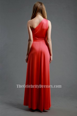 Floor Length Water Melon One Shoulder Prom Gown Evening Dress TCDBF090
