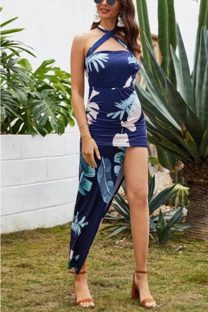Floral Print Asymmetrical Halter Dress