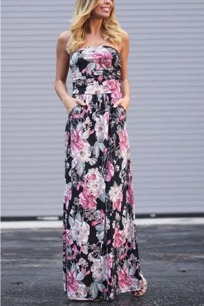 Floral Print Pocket Bandeau Dress