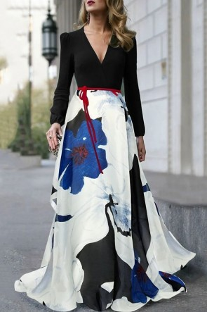 Elegant V-neck Floral Long Sleeves Dress