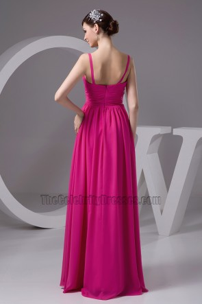 Fuchsia Chiffon Full Length Prom Gown Evening Dresses