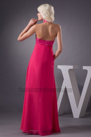 Fuchsia Halter Chiffon Formal Gown Evening Prom Dresses