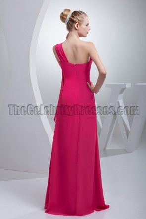 Fuchsia One Shoulder Chiffon Bridesmaid Prom Dresses