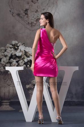 Fuchsia One Shoulder Short Mini Party Homecoming Dresses