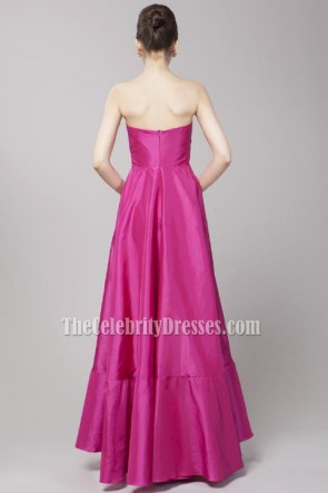 Fuchsia Strapless A-Line Prom Gown Evening Dresses