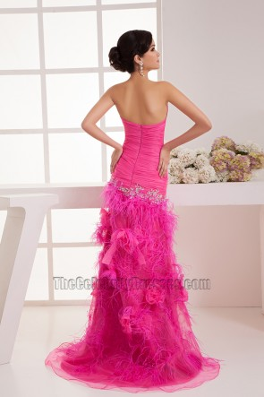 Fuchsia Strapless Sweetheart Embroidery Feather Formal Dresses