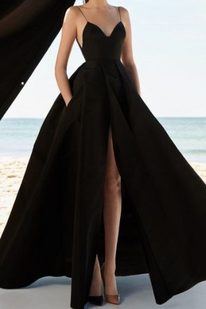 Full Length Black Spaghetti Straps Formal Dress Evening Prom Gown