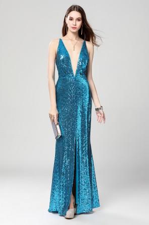 Full Length Blue Deep V-Neck Sequins Backless Evening Dresses