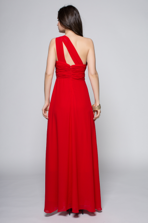 Full Length Red One Shoulder Prom Gown Evening Dress