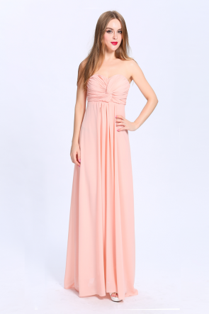 Full Length Strapless Sweetheart Chiffon Bridesmaid Prom Dresses TCDBCk419