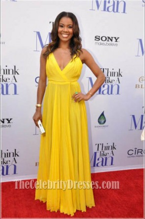 Gabrielle Union Yellow Chiffon Prom Dress Think Like a Man Premiere Red Carpet