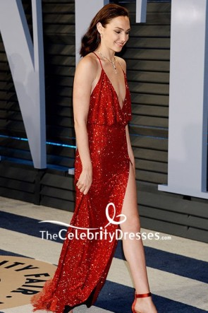 Gal Gadot Burgundy Sequins Spaghetti Strap Evening Dress 2018 Oscars After Party TCD7945