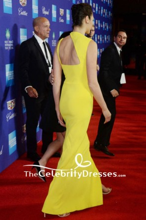 Gal Gadot Yellow Cut Out Long Sheath Dress Palm Springs International Film Festival Awards Gala 2018 TCD7651