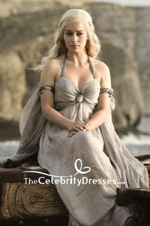 Game of Thrones Daenerys Targaryen Chiffon Gray Halter V-neck Dress