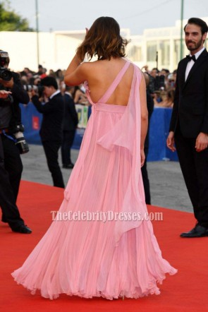 Gemma Arterton Pink One Shoulder Chiffon Evening Prom Gown 73rd Venice Film Festival TCD6779