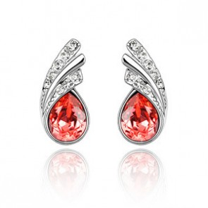 Genuine Austrian Crystal Tear Drop Stud Earrings Flowing TCDE0107