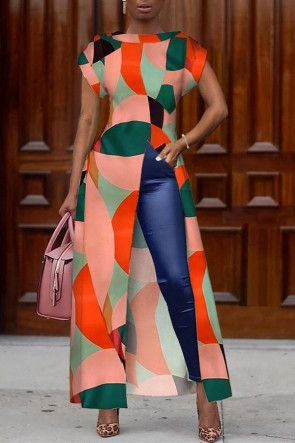 Geometric Print Slit Dress