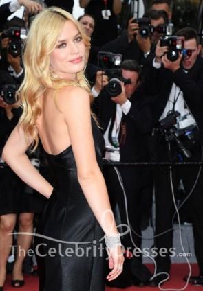 Georgia May Jagger Black Plunging Slip Thigh-high Slit Evening Dress 2018 Cannes Film Festival Opening Gala TCD7865