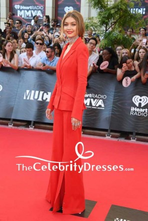Gigi Hadid Red Trouser Suit 2016 iHeartRadio Much Music Video Awards Red Carpet TCD7544