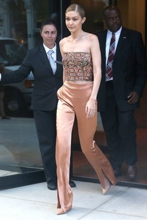 Gigi Hadid Shimmery Slit High Waist Pants