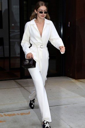 Gigi Hadid White Deep V-neck Belt Jumpsuit