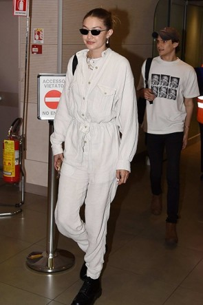 Gigi Hadid White Pockets Jumpsuit Florence Airport