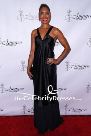 Gina Torres Black Satin Evening Dress 2018 Imagen Awards Red Carpet