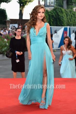 Giulia Electra Goretti Blue Prom Dress 'Birdman' premiere 71st Venice Film Festival
