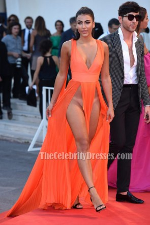 Giulia Salemi Orange Sexy Evening Prom Gown 'Brimstone' Premiere 2016 Venice Film Festiva 2