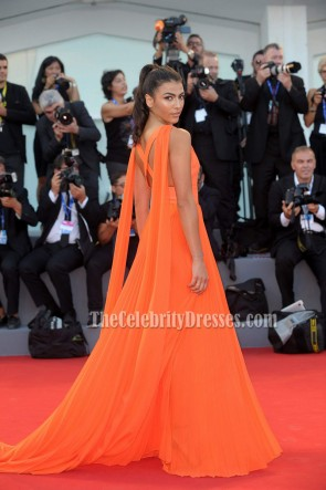 Giulia Salemi Orange Sexy Evening Dress 'Brimstone' Premiere 2016 Venice Film Festival TCD6772