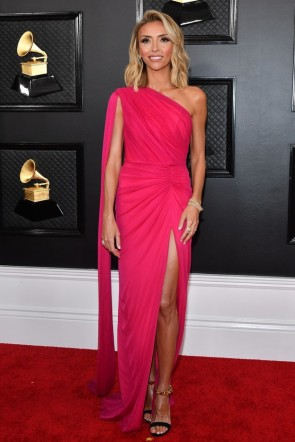 Giuliana Rancic Ruchsia One-shoulder Evening Dress 2020 Grammys