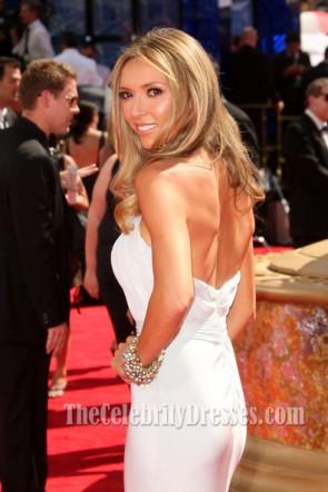 Giuliana Rancic White Halter Prom Dress Emmy Awards 2009 Red Carpet
