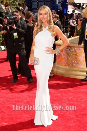 Giuliana Rancic White Halter Prom Dress Emmy Awards 2009 Red Carpet