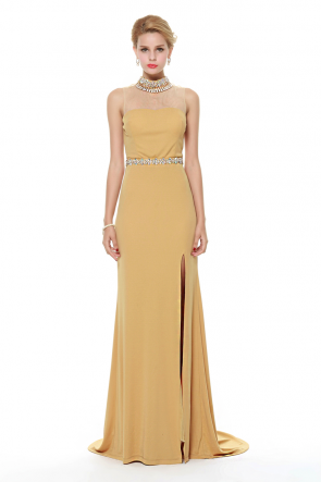 Gold Backless Evening Formal Dress With High Slit