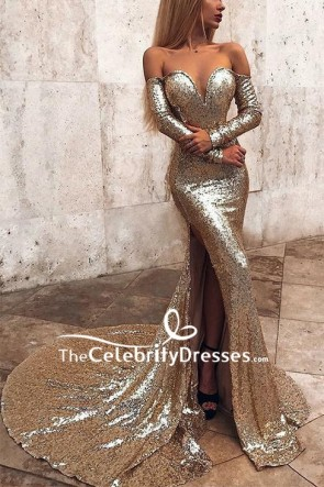 Gold Off The Shoulder Slit Mermaid Prom Dress