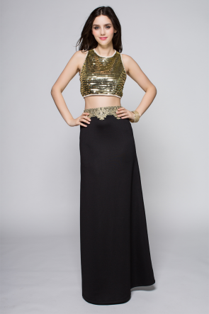 Gold Sequined Two Pieces Sleeveless Prom Dress Evening Party Gown