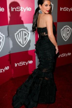 Kim Kardashian Black Mermaid Evening Dress Golden Globes 2011