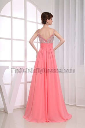 Gorgeous A-Line Chiffon Beaded Prom Dress Evening Dresses
