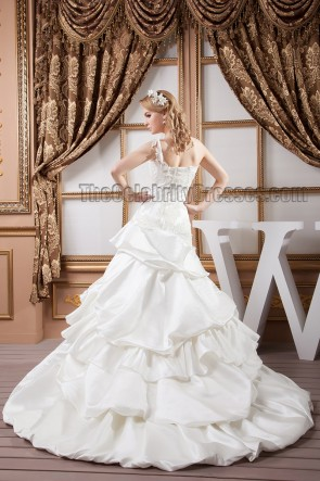 Gorgeous A-Line One Shoulder Chapel Train Wedding Dresses