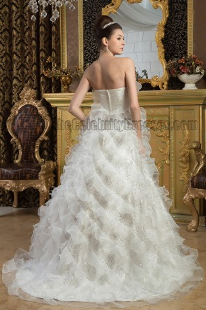 Gorgeous A-Line Strapless Ruffles Sweep/Brush Train Wedding Dress With Sequins