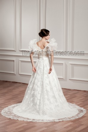 Gorgeous A-Line V-Neck Lace Chapel Train Wedding Dresses