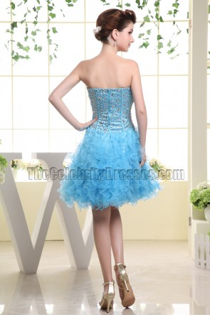 Gorgeous Blue Strapless A-Line Homecoming Dress Party Dresses