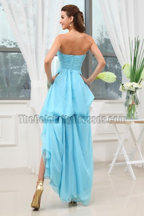 Gorgeous Blue Strapless High Low Prom Dress Evening Gown