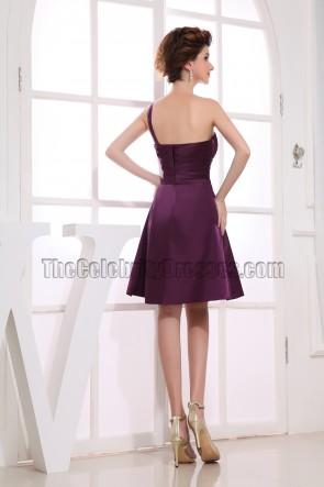 Gorgeous Grape One Shoulder Cocktail Dress Bridesmaid Dresses