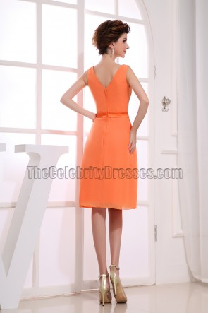 Gorgeous Orange Chiffon Knee Length Cocktail Dress Party Dresses