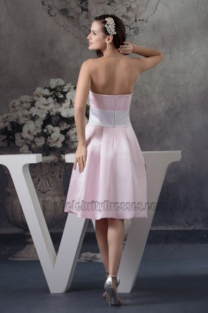 Gorgeous Pink A-Line Strapless Bridesmaid Cocktail Dresses