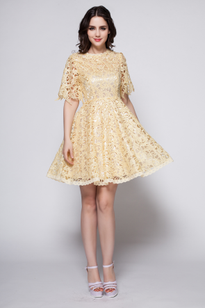 Gorgeous Short Daffodil Lace Graduation Homecoming Dresses